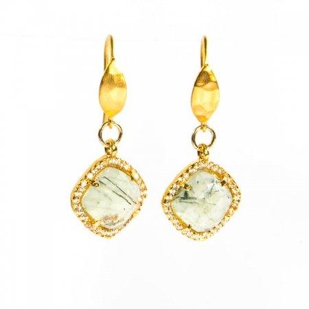 Prehinite CZ Gold Earrings Hanging View by La Isla Jewelry