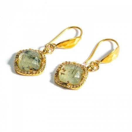 Prehinite CZ Gold Earrings by La Isla Jewelry