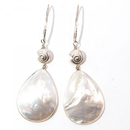Front View Mother of Pearl Silver Drop Earrings