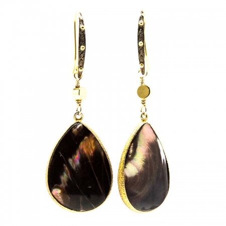Hanging View Brown Mother of Pearl Gold Drop Earrings