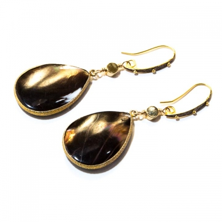 Iridescent Brown Mother of Pearl Gold Drop Earrings
