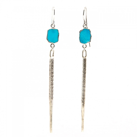 Hanging VIew Turquoise Slice Silver Dagger Earrings
