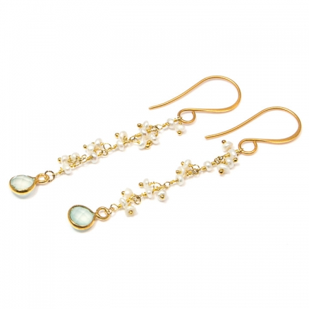 White Pearl and Chalcedony Gold Chain Dangle Earrings