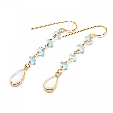 Blue Topaz Moonstone Drop Gold Chain Earrings