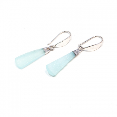 Druzy Chalcedony Silver Dangle Earrings