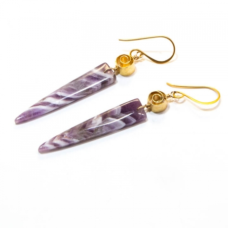 Chevron Amethyst Gemstone Dagger Gold Earrings