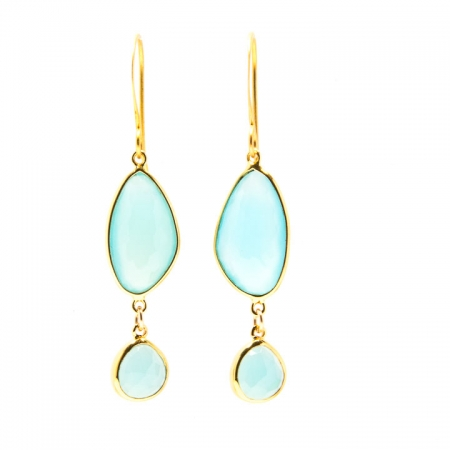Chalcedony Gold Dangle Earrings Hanging View