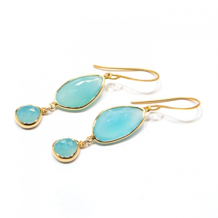 Chlacedony Gold Dangle Earrings