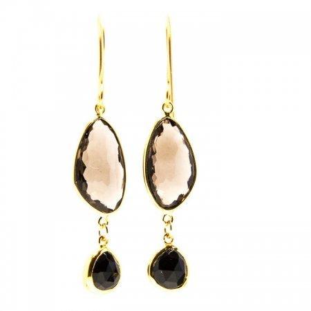 Smokey Quartz Black Spinel Gold Dangle Earrings Hanging View