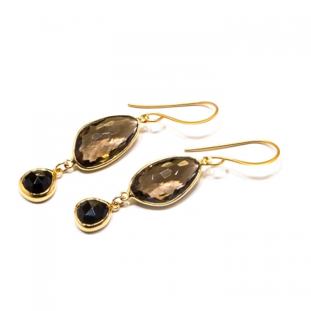 Smokey Quartz Black Spinel Gold Dangle Earrings