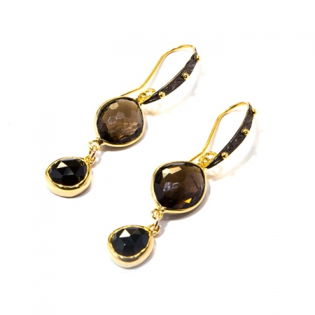 Smokey Quartz Black Spinel Gold Drop Earrings