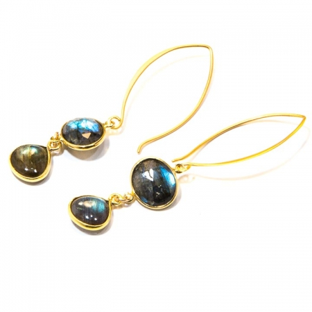 Labradorite Gold Drop Earrings