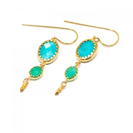 Russian Amazonite Chrysoprase Gold Dangle Earrings