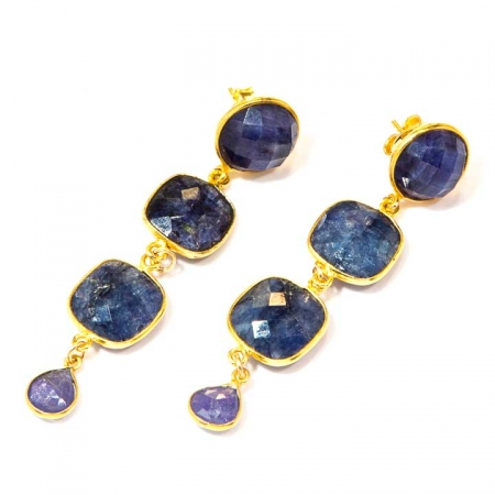 Blue Lapis Tanzanite Tiered Gold Drop Earrings