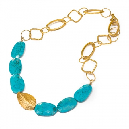 Statement Turquoise Gold Chain Necklace