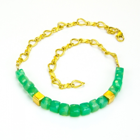Chrysoprase Cube Gold Chain Necklace