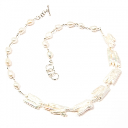 White Biwa Branch Pearl Silver Necklace