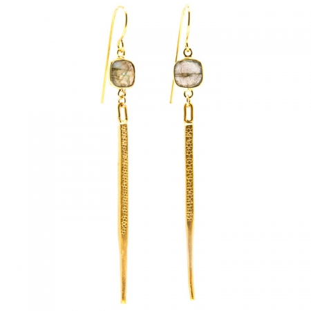 Hanging View Labradorite Gold Dagger Earrings