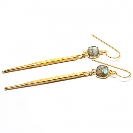 Labradorite Gold Dagger Earrings