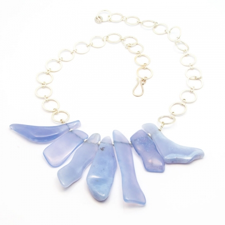 Blue Lace Agate Silver Chain Necklace