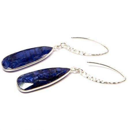Blue Lapis Silver Dangle Earrings