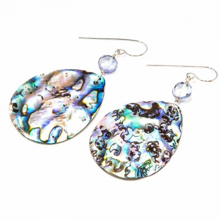 Abalone and Iolite Siver Dangle Earrings