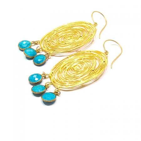 Gold Filigree Disc Earrings with Turquoise Dangles