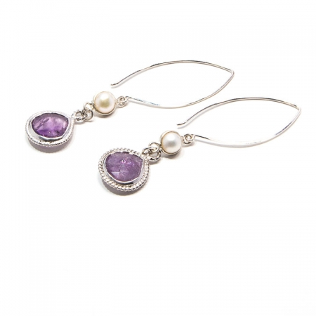 Pearl Amethyst Silver Dangle Earrings