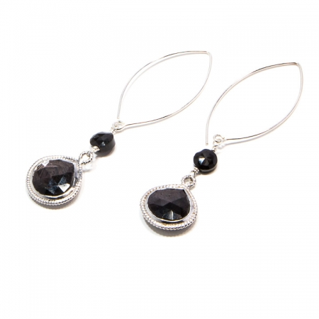 Spinel and Hypersthene Silver Dangle Earrings