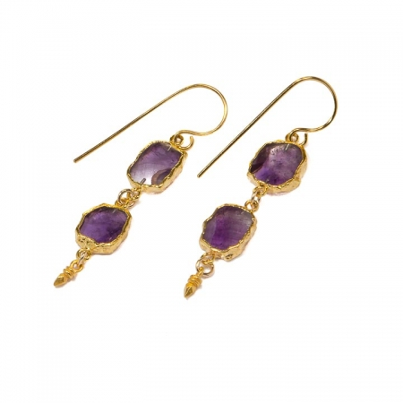 Amethyst Slice Dangle Earrings