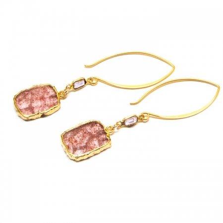 Mossy Amethyst Slice Gold Dangle Earrings