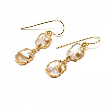 Rutilated Quartz Slice Dangle Earrings