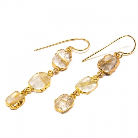 Long Rutilated Quartz Slice Dangle Earrings