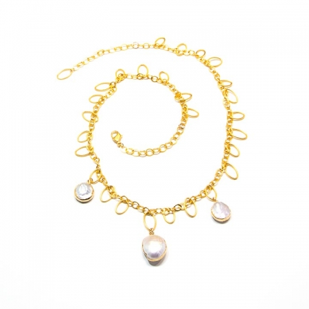 Pearl Charm Gold Chain Necklace