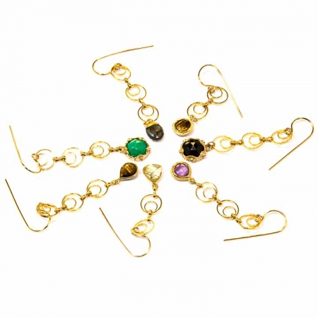 Gemstone Gold Chain Dangle Earring Collection by La Isla Jewelry