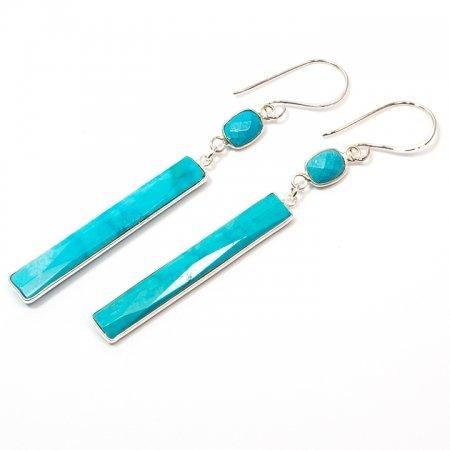 Turquoise Rectangular Dangle Silver Earrings by La Isla Jewelry