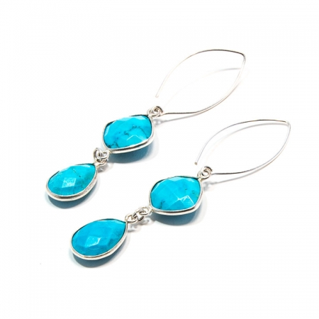 Blue Turquoise Silver Dangle Earrings by La Isla Jewelry
