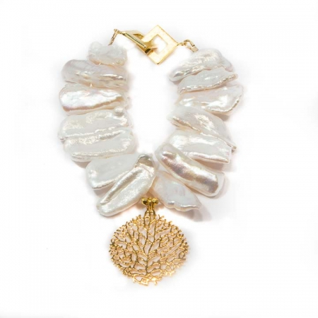 Pearl Gold Charm Bracelet