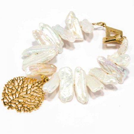 Pearl with Gold Charm Bracelet by La Isla Jewelry