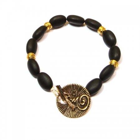 Black Onyx Bhuddist Blessing Charm Bracelet