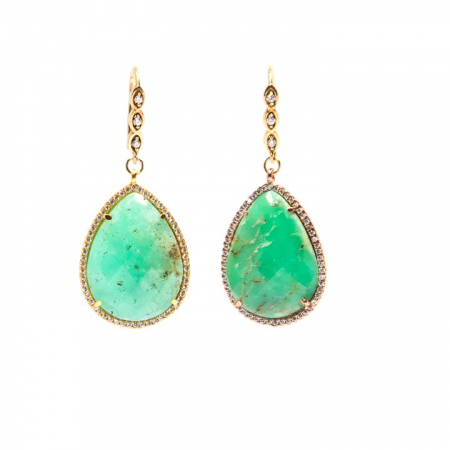 Chrysoprase CZ Pave Gold Dangle Earrings Hanging View