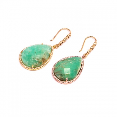 Gold Chrysoprase with CZ Pave Drop Earrings