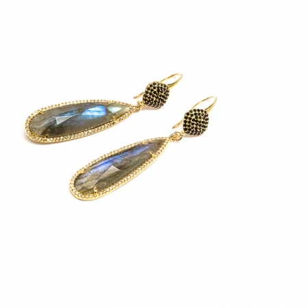 Long Gold Labradorite CZ Pave and Spinel Earrings