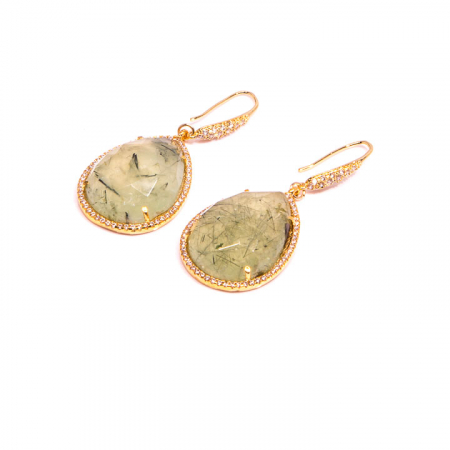 Prehinite with CZ Pave Gold Dangle Earrings