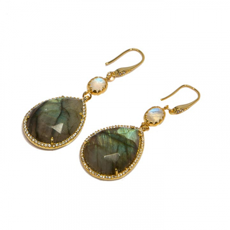 Gold Labradorite with CZ Pave and Moonstone EarringsGold Amazonite Drops with Chalcedony Earrings