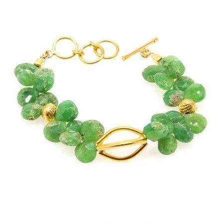 Green Chrysoprase Heart Gold Bracelet by La Isla Jewelry