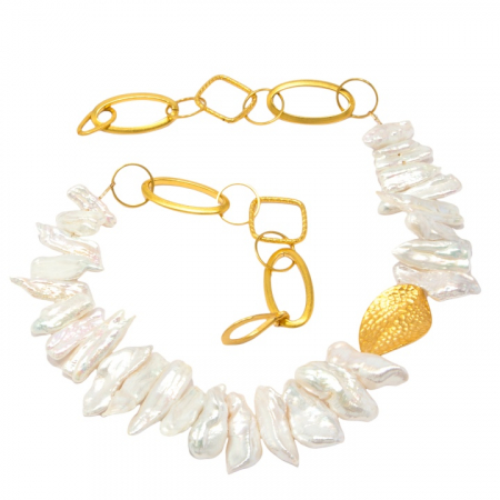 Tropical Biwa Pearl and Gold Chain Necklace