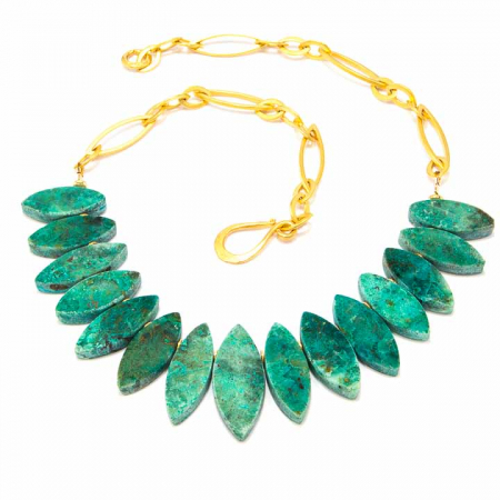 Chrysocolla Marquis Gold-Chain-Necklace by La Isla Jewelry