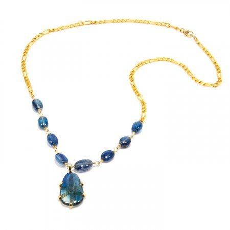 Blue Kyanite Pendant Gold Chain Necklace