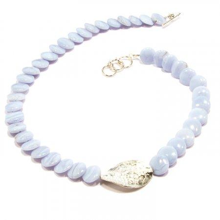 Blue Lace Agate Silver Accent Necklace